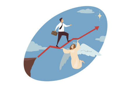 Religion, christianity, support, startup, goal achievement concept. Angel biblical character helping businessman manager walking on red arrow to shining star. Divine assistance and reaching purposes.