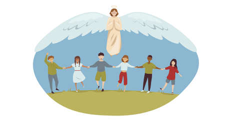 Protection, childhood, education, support, religion, christianity concept. Angel biblical religious character protecting young multiethic happy toddlers schoolchildren kids boys girls. Divine help.