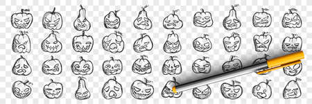 Pumpkins doodle set. Collection of hand drawn pencil sketches templates patterns of pumpkin faces with angry or happy emotions on transparent background. Illustration of Halloween symbol. Vectores