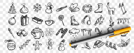 Winter doodle set. Collection of hand drawn sketches templates patterns cold season snowman and santa claus or skiing or christmas tree on transparent background. Celebration of New Year illustration.