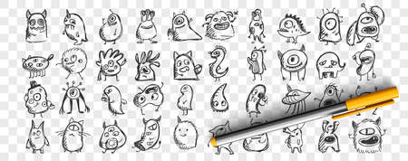 Monsters doodle set. Collection of hand drawn pencil sketches templates patterns of spooky creatures alliens ugly cyclops beasts mascots on transparent background. Illustration of Halloween symbol.