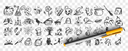 Halloween doodle set. Collection of hand drawn pencil sketches templates patterns of bats pumpkins zombies owls ghots creatures on transparent background. Illustration of all saints day symbols.