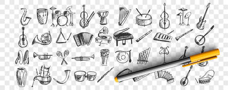 Musical instruments doodle set. Collection of hand drawn sketches templates drawing patterns of music instrument piano drums guitar flute saxophone on transparent background. Art and creativity. Illustration