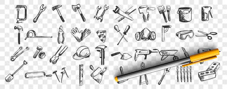 Repairs doodle set. Collection of hand drawn patterns sketches templates of working tools and instruments screwdriver drill spatula on transparent background. Maintenance equipment illustration. Illustration