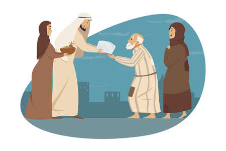 Family, love, holiday, islam, Eid al Fitr concept. Young man woman brother sister muslims give gifts presents to parents arab granny grandfather. Mothers day fathers day islamic Ramadan celebration.