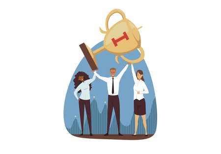 Success, win, celebration, goal achievement, business concept. Team of young happy businessman woman clerks managers leaders cartoon characters hold golden cup together. Reaching purpose and victory. Illustration
