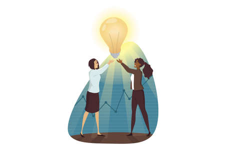 Success, goal achievement, winning, teamwork, business concept. Team of young african american businesswomen clerks managers characters holding light bulb. Successful trouble solution idea creation.