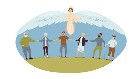 Protection, health, care, support, religion, christianity concept. Angel biblical religious character protects old men women grannies grandfather senior citizens pensioneers. Divine help illustration. Vectores