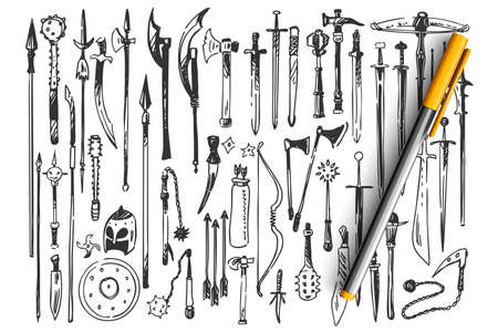 Weapons doodle set. Collection of hand drawn sketches templates patterns of medieval swords shields spears clubs helmets on white background. Historical knight armor illustration.