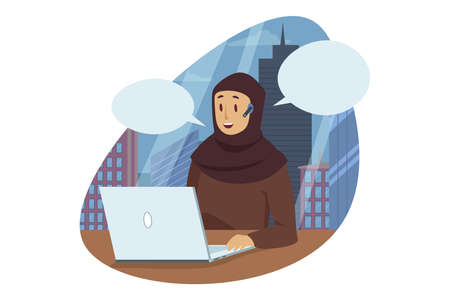 Business, work, communication concept. Smiling happy arabic businesswoman muslim manager cartoon character sitting at laptop in modern office wearing traditional hijab. Working process illustration. Illustration