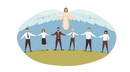 Protection, support, teamwork, business, religion, christianity concept. Angel biblical religious character protecting team businessmen women clerk managers leaders. Divine help and unity illustration Illustration