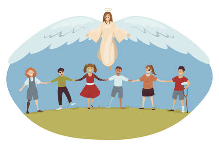 Protection, disability, support, religion, christianity concept. Angel biblical religious character protecting young happy handicapped injured disabled people children kids. Divine help healthcare.