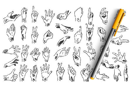 Hand gestures doodle set. Collection of hand drawn sketches templates patterns of pen pencil ink drawing human hands showing like ok signs or demosntrating palm fingers on white background.