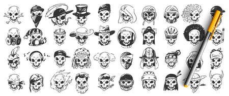 Skulls doodle set. Collection of hand drawn sketches templates patterns of dead human skeletons head bone with various hats in raw on white background. Halloween symbol illustration