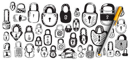 Locks doodle set. Collection of hand drawn sketches patterns templates of different shape metal door padlocks on white background. Safety protective equipment from robbery illustration Illustration