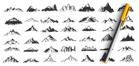 Hand drawn mountain peaks doodle set. Collection of pencil pen ink drawing sketches patterns different form shape hill or rock tops on white background. Highland objects scribbles illustration.