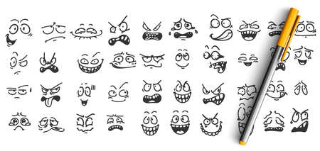Face expressions doodle set. Collection of pencil ink hand drawn sketches templates patterns of funny happy and upset faces emoticons on white background. Positive and negative emoji illustration. 矢量图像