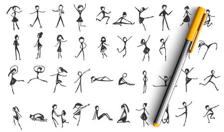 Manikins doodle set. Collection of hand drawn sketches templates patterns of happy and sad drawing comic people males females on white background. Dancing resting little stickmen women illustration.