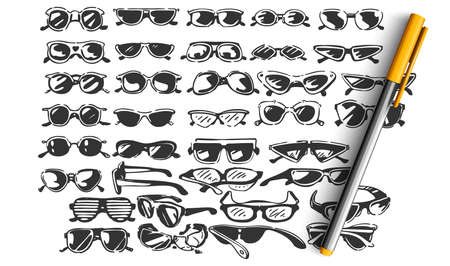 Glasses doodle set. Colection of hand drawn sketches templates patterns of optician objects stylish sunglasses spectacles assortment on white background. Eye health and vision illustration. Illustration