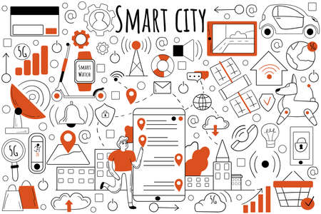 Smart city doodle set. Collection of hand drawn sketches templates patterns of people collecting data from urban activity communication and IoT technology. Infrastructure technological development. 矢量图像