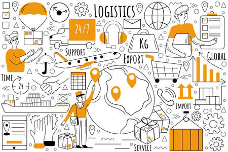Logistics doodle set. Collection of hand drawn sketches templates patterns of transportation and distribution of goods. Inventory management and export cargo delivery service illustration