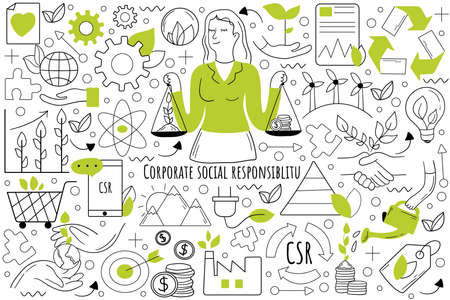 Corporate social responsibility doodle set. Collection of hand drawn templates patterns sketches of businesswoman balancing holding money and tree in hands. Environmental impact of business operations Illustration