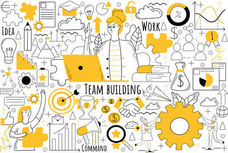 Team building doodle set. Collection of hand drawn sketches templates patterns of businesmen women clerks managers doing teamwork together. Corporate member communication and productive collaboration.