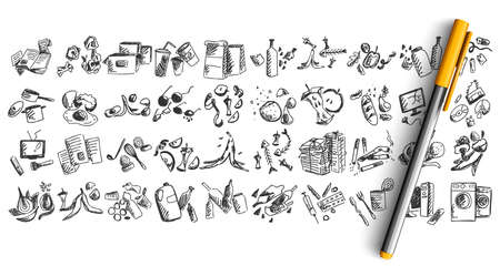 Trash doodle set. Collection of pen pencil hand drawn sketches templates patterns of human wastes wastepaper food stumps broken cloth and furniture isolated in line. Nature junk pollution illustration