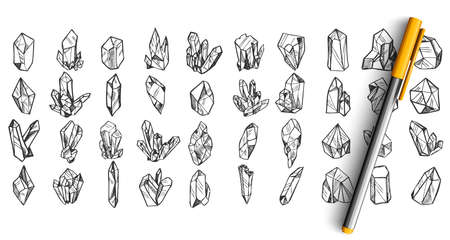 Crystals doodle set. Collection of pen pencil ink hand drawn sketches templates patterns of crystalline structure stones minerals jewelry amethyst ruby diamond isolated in line. Gemstone illustration. Illustration