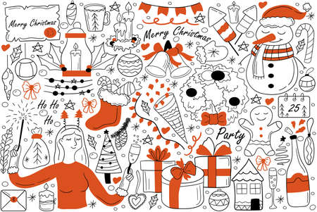 Merry Christmas doodle set. Collection of hand drawn sketches template patterns of chirstianity holiday new year symbols santa claus snowman. Winter and Jesus Christ birth celebration illustration.
