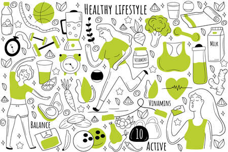 Healthy lifestyle doodle set. Collection of hand drawn sketches patterns templates of people jogging together eating food doing fitness and sport. Healthcare nutrition and meditation illustration Illustration