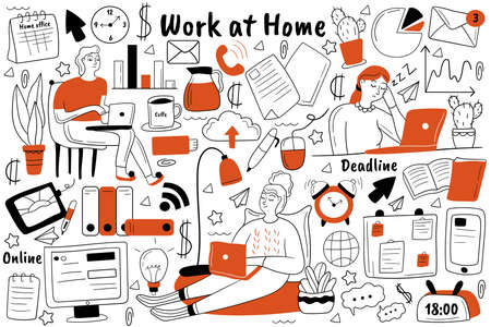 Work at home doodle set. collection of hand drawn sketches templates patterns of people freelancers sitting working at computer remotely from house. Business occupation freelance free lifestyle