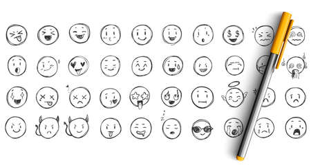 Face expressions doodle set. Collection of pencil ink hand drawn sketches templates patterns of funny happy and upset faces emoticons. Positive and negative social media emoji illustration.