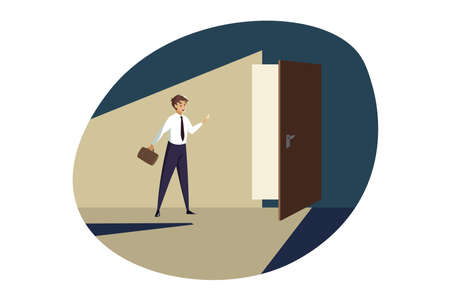 Business, career, opportunities, perspective concept. Young businessman manager standing in front opened door ready for new job perspectives. Professional corporate growth and percpectives at work.
