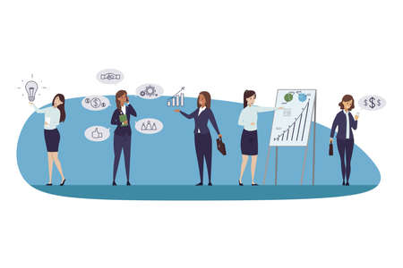 Profit, business, success, analysis, idea, communication concept. Group of businesswomen negotiating brainstorming checking money income presentating financial data report together. Goal achievement. Illustration