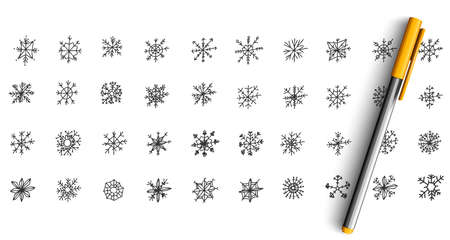Snowflakes doodle set. Collection of pen pencil ink hand drawn sketches templates pattern of frozen water drops isolated in line. Winter snowfall and christmas or new year symbol illustration.