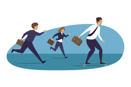 Leadership, motivation, career, advantage, business concept. Group of businesspeople following running chasing businessman leader participating in race competition. Taking advantages and motivation. Illustration