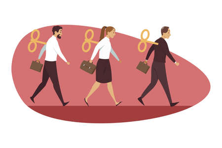 Fatigue, business, mental stress, frustration, management, routine concept. Depressed frustrated team group of businessmen woman clerks managers walking in line tired after work day illustration.
