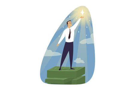 Success, goal achievement, career, winning, concept. Successful investment and profitable business.Happy businessman manager leader stands on pile stack of money and holding shining star illustration.