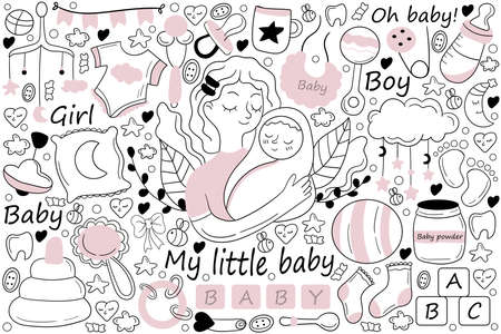 My little baby doodle set. Collection of hand drawn sketches templates drawing patterns of mother holding hugging child girl boy toddler. Motherhood or mothers day and childhood illustration.