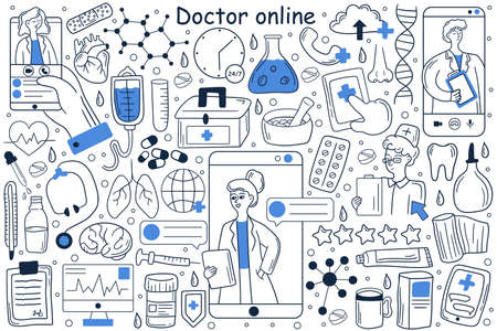 Doctor online doodle set. Collection of hand drawn templates patterns of man patient using mobile phone for chatting witch doctor on social media or network. Digital medical consultation illustration.