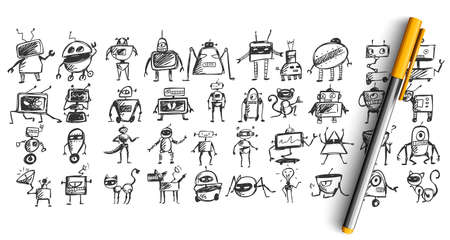 Robots doodle set. Collection of pencil pen ink hand drawn sketches templates patterns of mechanical scientific machines isolated in line. Technological androids and futurism illustration.