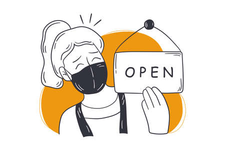 Reopening, shop, small business concept. Young happy woman store owner in medical face mask opening salon cafe after pandemic lockdown quarantine. We are working again after coronavirus illustration.