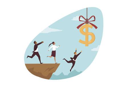 Business failure, bankruptcy, money trap concept