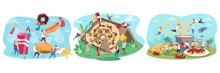 Fastfood, people, food set concept Иллюстрация