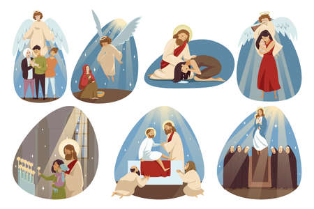 Religion, bible, christianity set concept Ilustrace