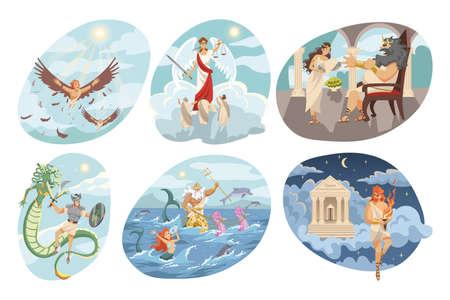 Mythology, Greece, religion set concept Vektorgrafik