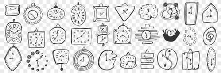 Wall clock hand drawn doodle set Ilustrace