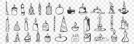 Candles hand drawn doodle set
