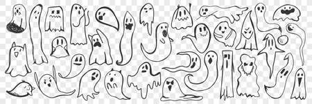 Ghost hand drawn doodle set Ilustrace